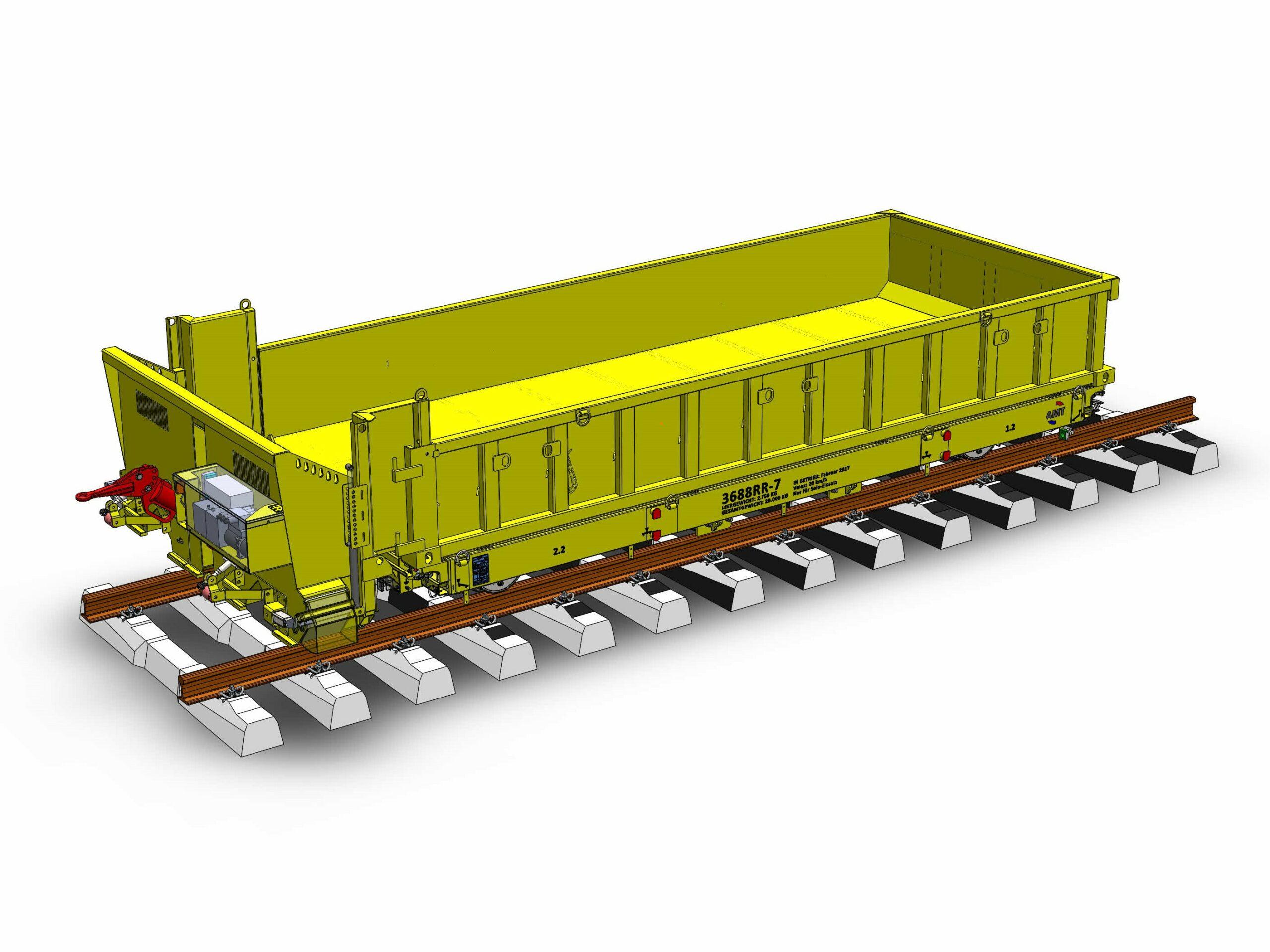 Rail trailer Container en ballastbox