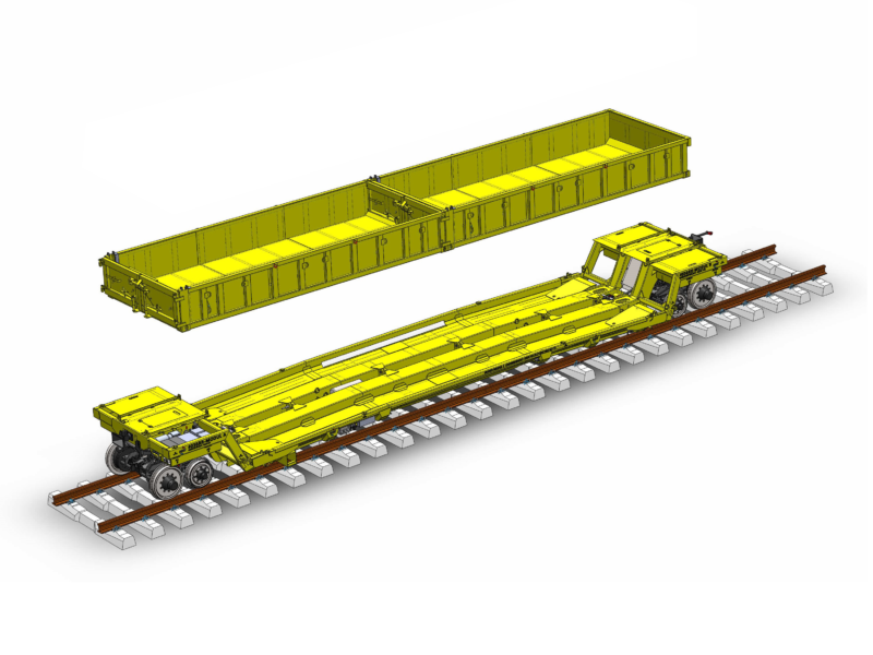 Self-propelled rail trailer with container