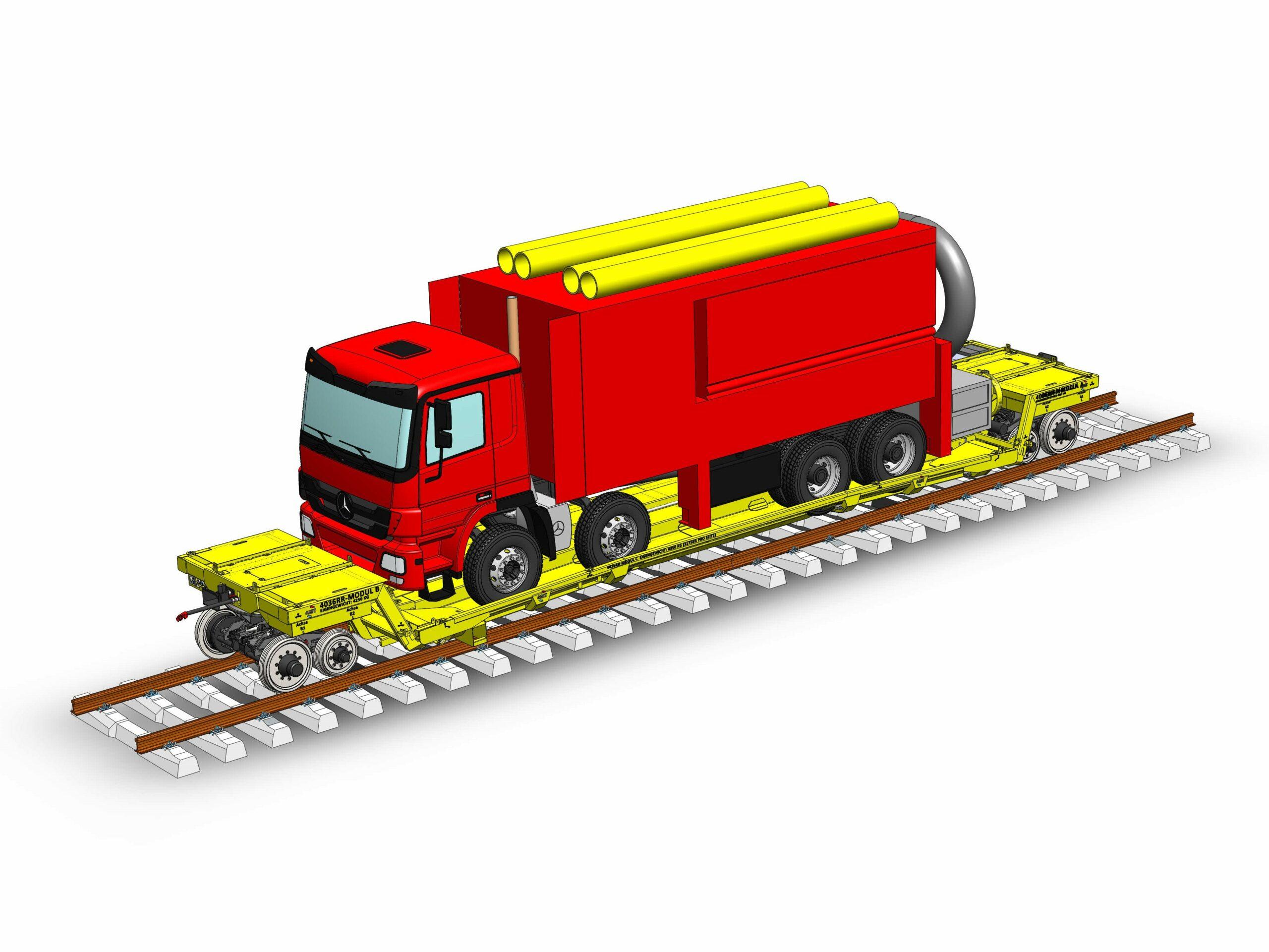 Zelfrijdende railtrailer met vrachtwagen