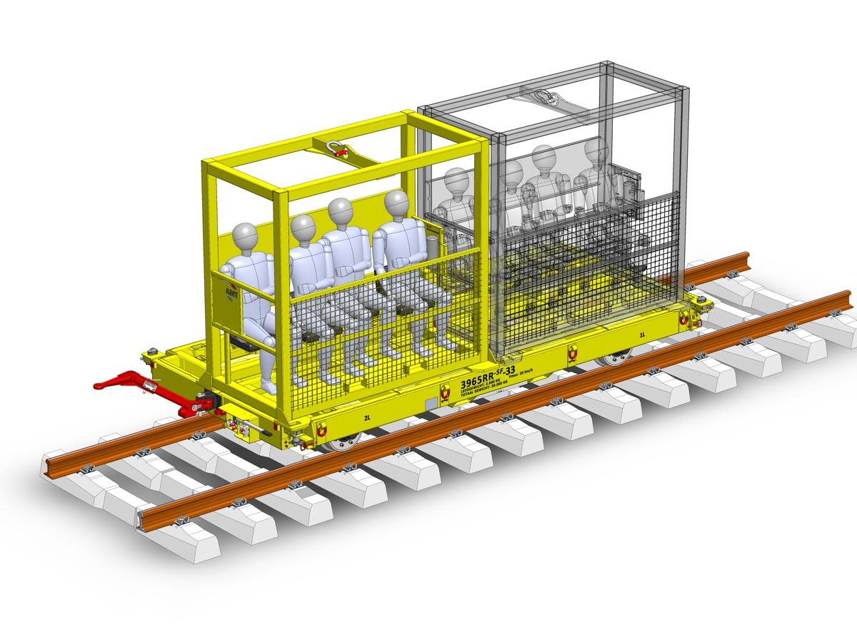 Rail trailer passenger transport