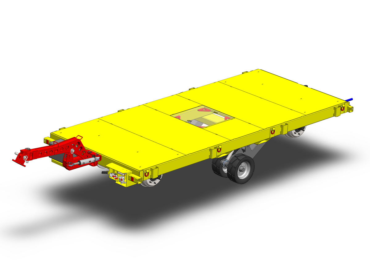 Rail trailer with road tires